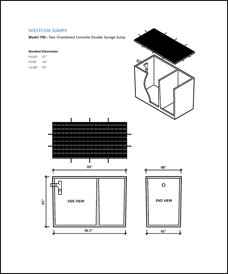 model 700 two chambered concrete double garage sump schematic