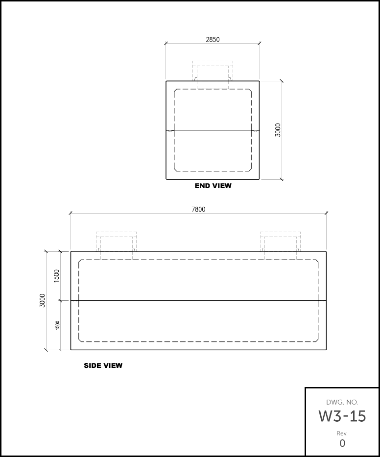 10,000 Gallon Septic Holding Tank schematic