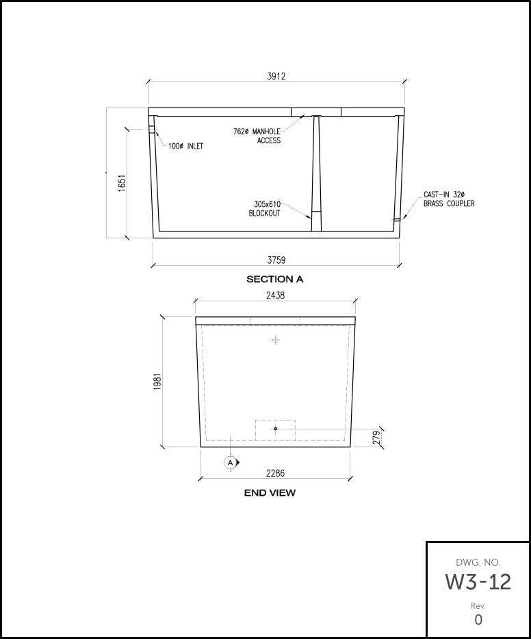 M 3000 Septic Holding Tank schematic