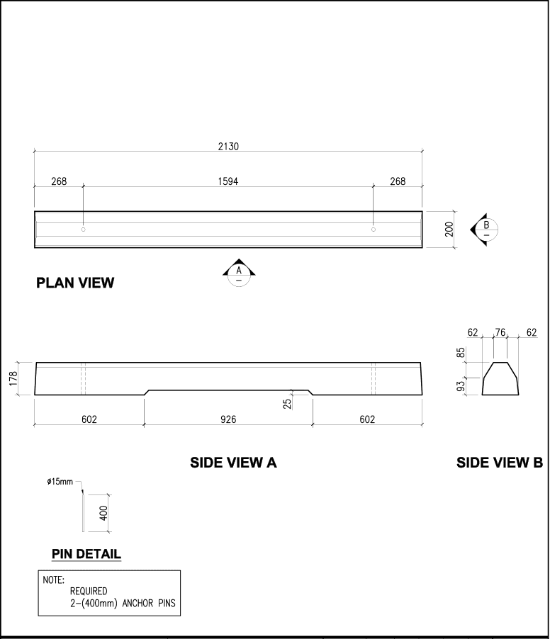 7-Foot Standard precast concrete curb schematic