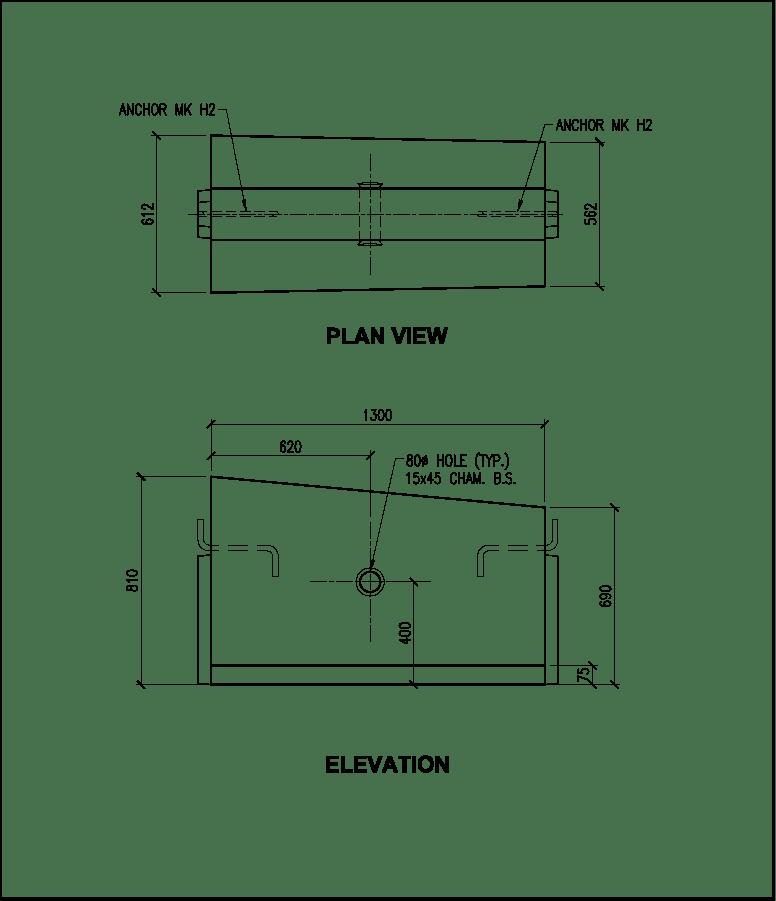 810 to 690 CTB-2H precast concrete barrier schematic