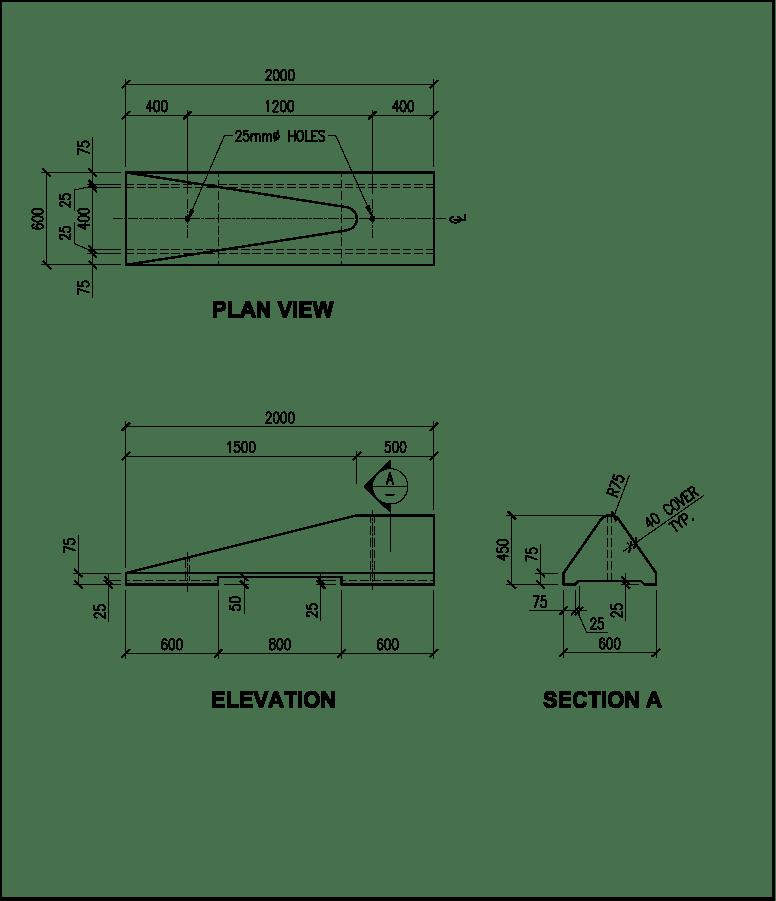 low profile transition precast concrete barrier schematic